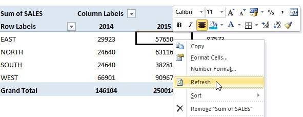 Refresh a Pivot Table | MyExcelOnline