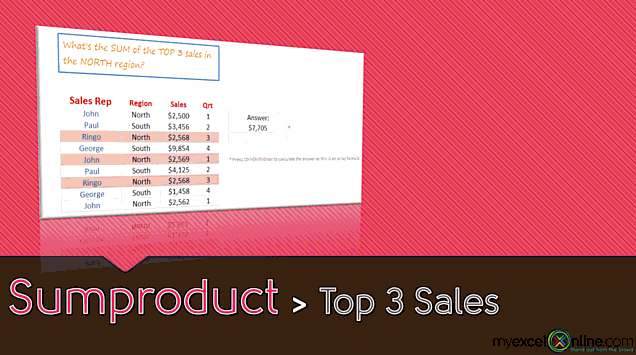 Advanced Sumproduct Function: Sum the Top 3 Sales with an Array Formula