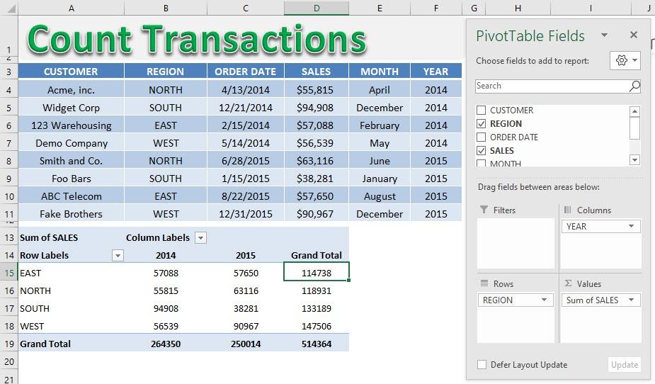 Pivot Table Count Transactions | MyExcelOnline