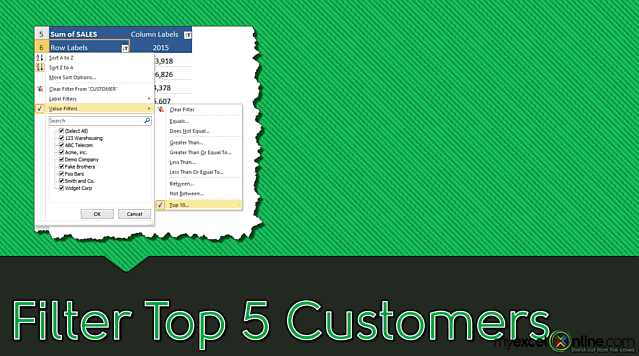 Pivot Table Filter: Top 5 Customers