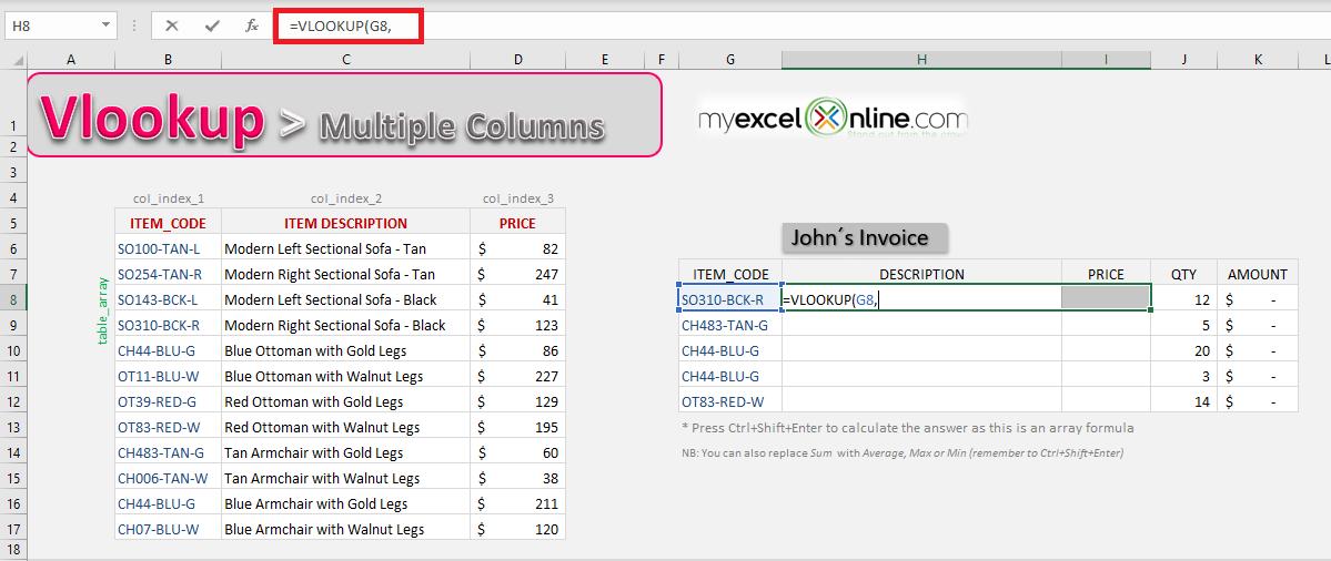 Excel VLOOKUP Multiple Columns | MyExcelOnline