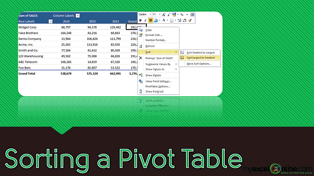 Sorting a Pivot Table