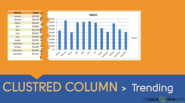Clustered Column Chart: 12 Month Trend