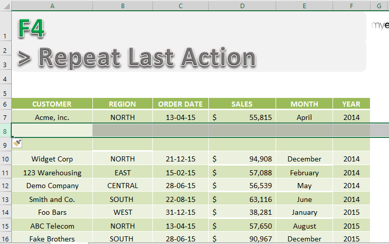 excel repeat last action