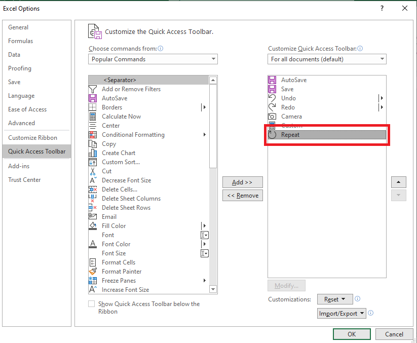 F4: Excel Repeat Last Action   MyExcelOnline