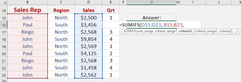 Sumifs Formula