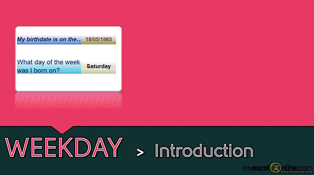 WEEKDAY function: Introduction