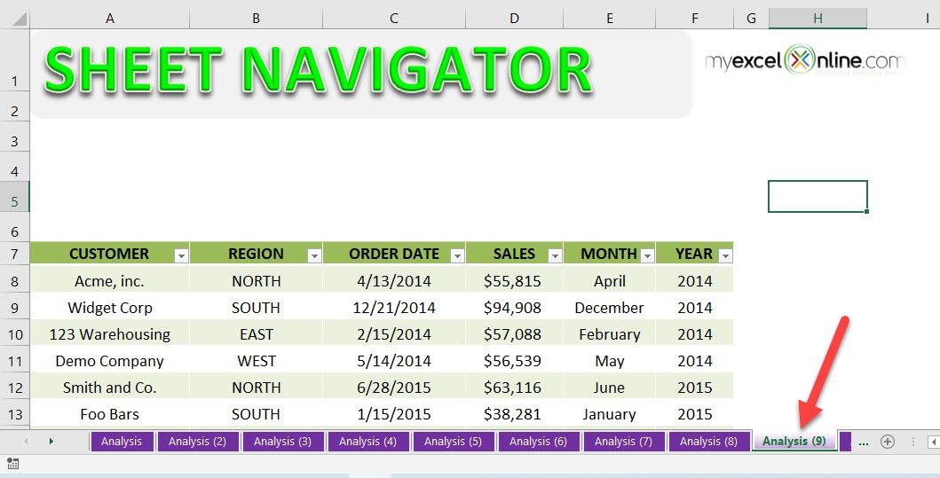 Excel Sheet Navigator | MyExcelOnline