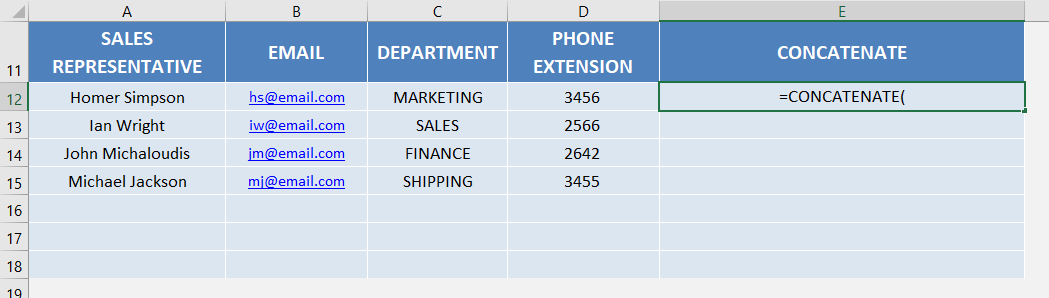 Excel concatenate functions | Free Microsoft Excel Tutorials