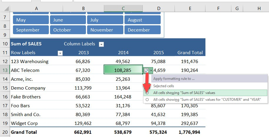 Conditionally Format a Pivot Table With Data Bars | MyExcelOnline