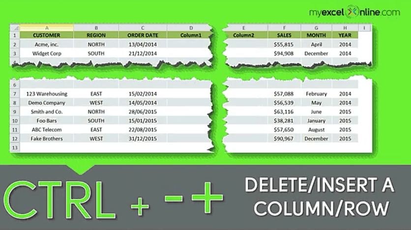 CTRL + -/+: Insert or Delete Rows and Columns in Excel