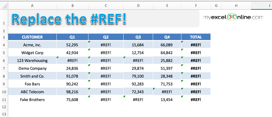 #ref! error in excel