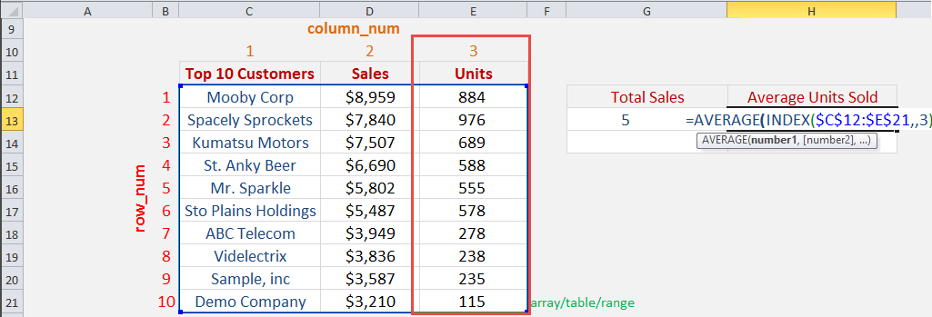 Sum a Range Using the INDEX Function