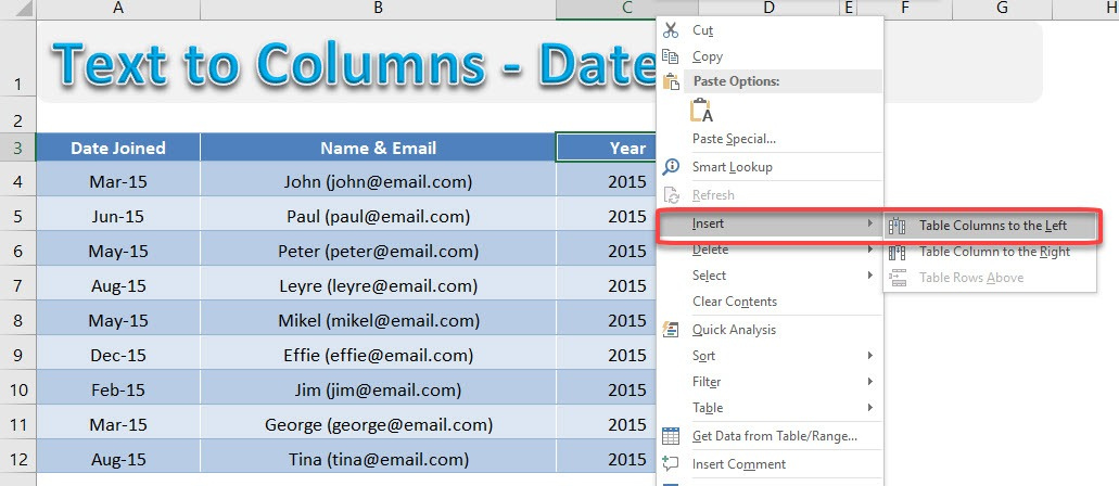 Text to Columns - Emails | MyExcelOnline