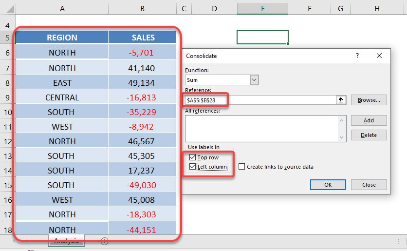 Consolidate in Excel with the CONSOLIDATE Tool   MyExcelOnline