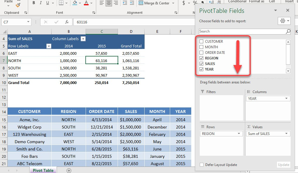 Sort Field List In a Pivot Table from A to Z   MyExcelOnline