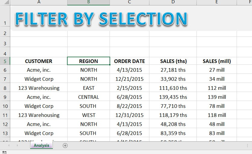Excel Filter by Selection | MyExcelOnline