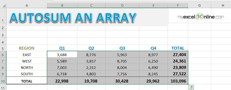 Autosum an Array of Data in Excel | MyExcelOnline