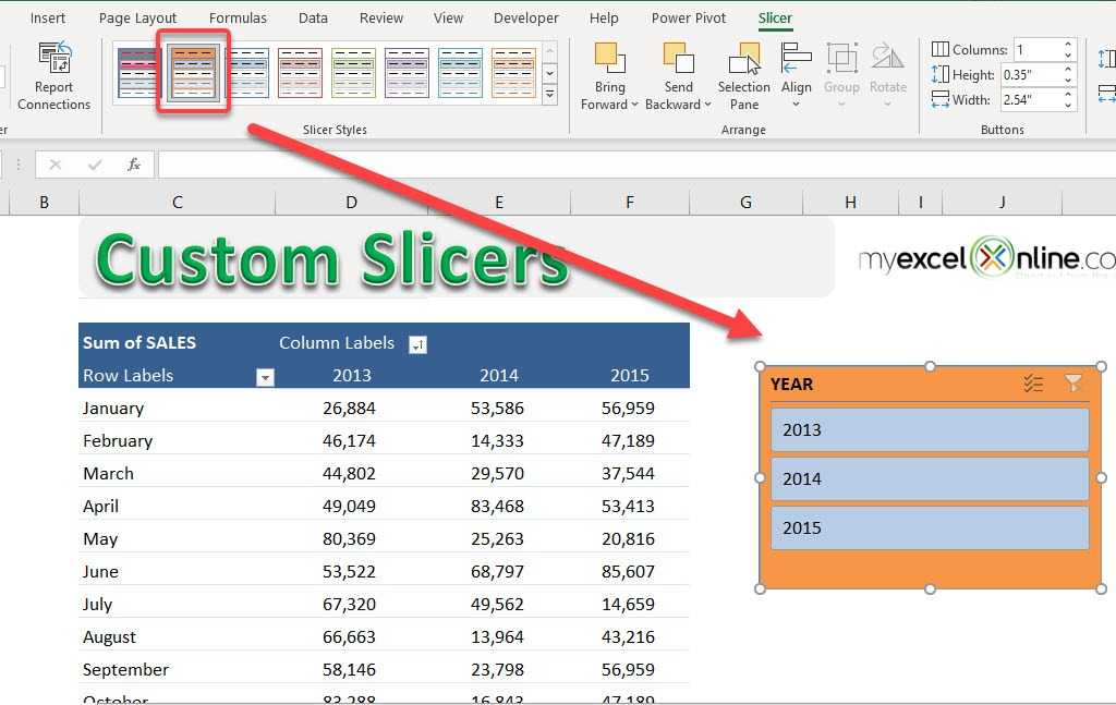 Customize an Excel Slicer | MyExcelOnline