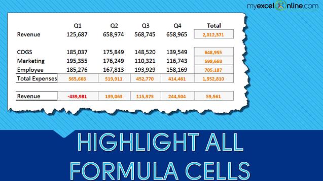 Highlight All Excel Formula Cells