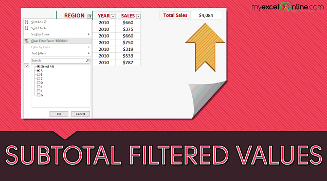 Excel Subtotal Function – Filtered or Visible Values