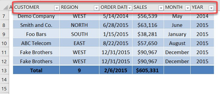 Excel Table Headers Show in Columns | MyExcelOnline