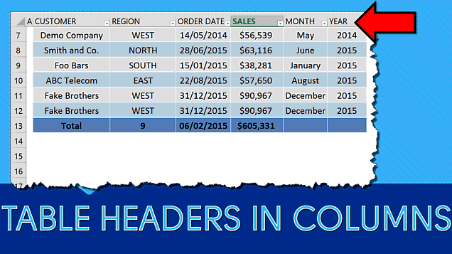 Excel Table Headers Show in Columns