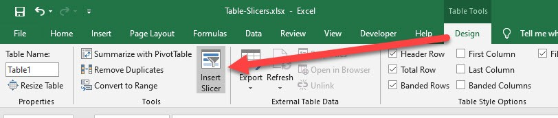 Excel Table Slicers | MyExcelOnline