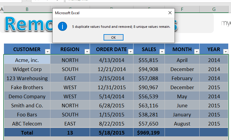 Excel Remove Duplicates from Table