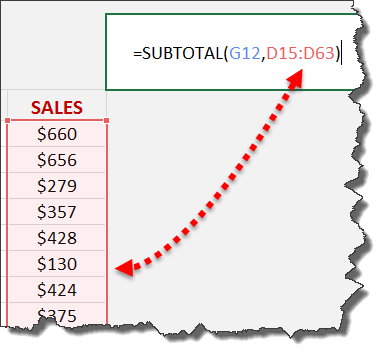 Excel Subtotal 2nd argument