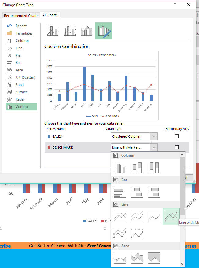 benchmark chart in excel 2013