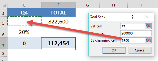 by changing cell goal seek excel