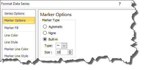 marker options excel 2010