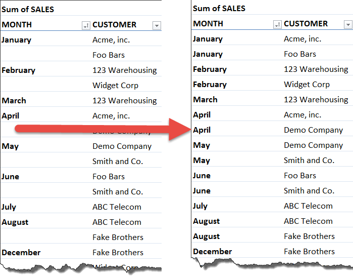 repeat all item labels in excel pivot table