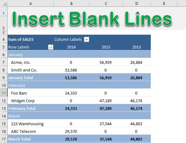 Insert Blank Rows In a Pivot Table | MyExcelOnline