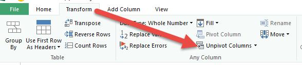unpivot columns power query
