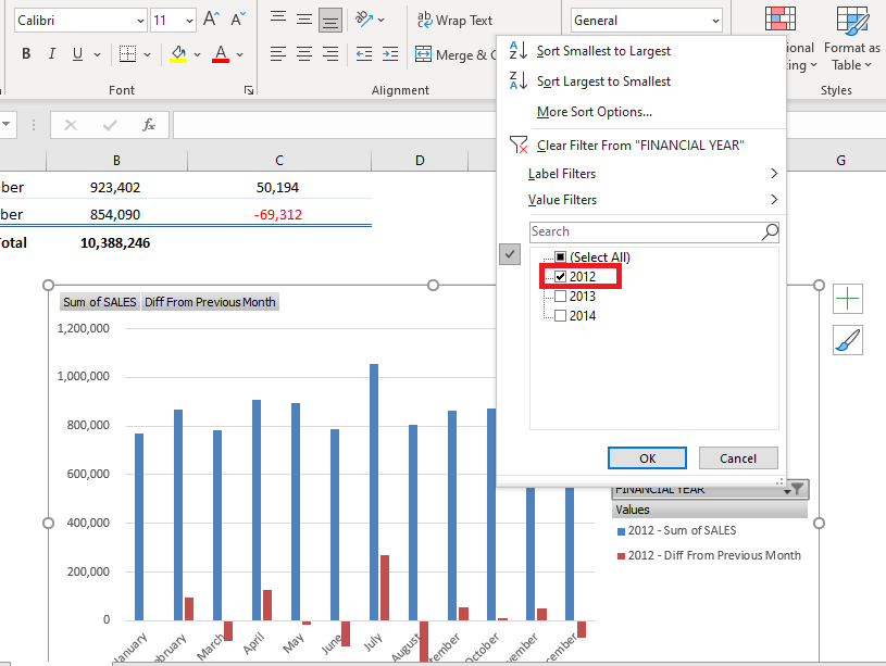 Show The Difference From Previous Months With Excel Pivot Tables | MyExcelOnline