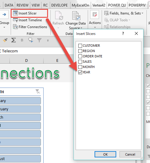 Connect Slicers to Multiple Excel Pivot Tables