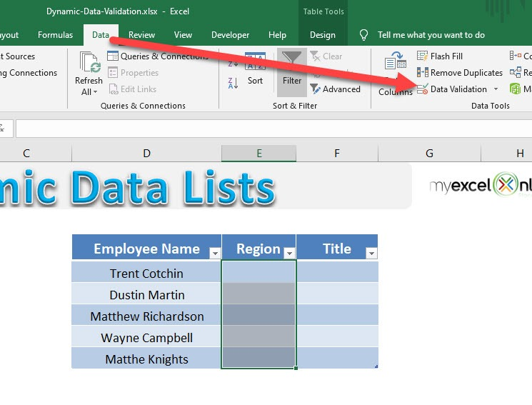 Dynamic Data List using Excel Tables | MyExcelOnline