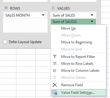 show the difference from previous years with excel pivot tables