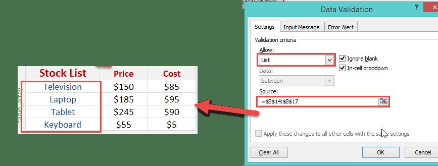 Excel VLOOKUP with Drop Down