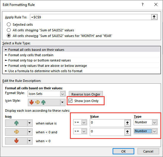 Icon Sets in Pivot Table