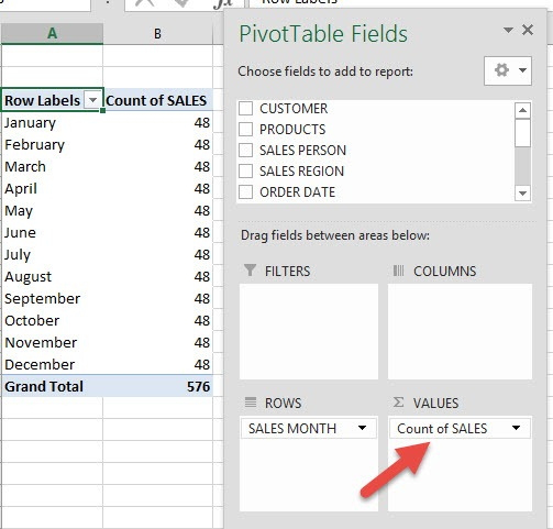 Count VS Sum in Pivot Tables