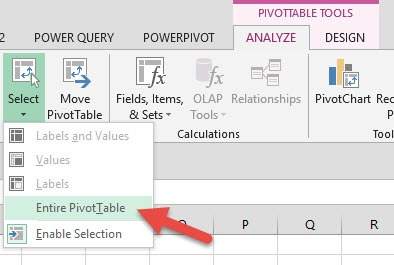select entire pivot table