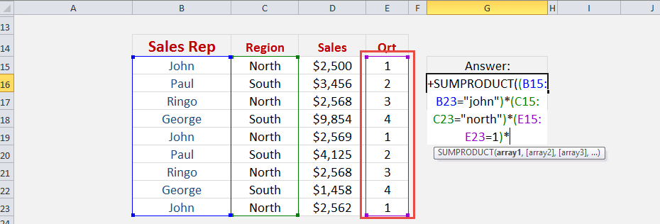 Excel SUMPRODUCT Multiple Criteria