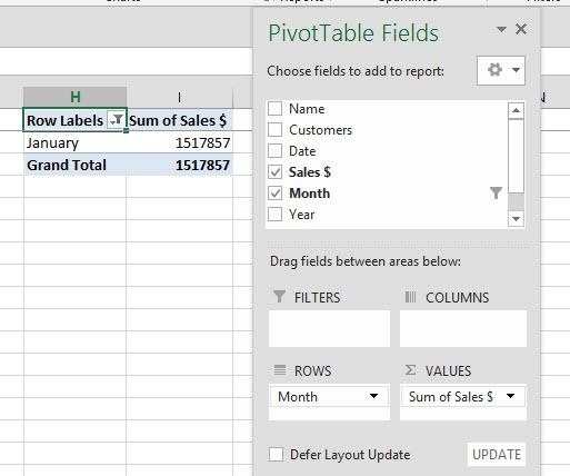 pivot table1