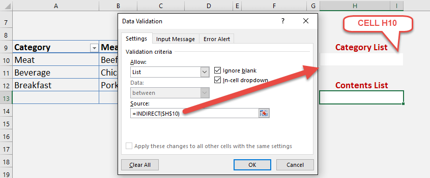 indirect function for dependent dropdown lists in excel