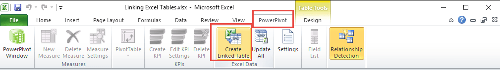 Excel 2010 - Create Linked Table