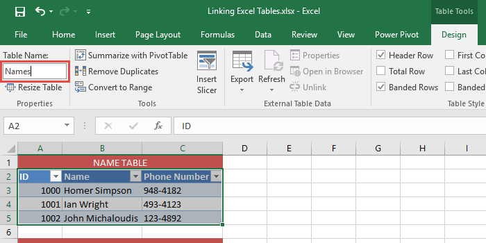 Linking Excel Tables 03