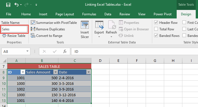 Linking Excel Tables 05